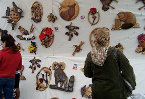 Werners Wood Sculptures at the Arts and Crafts Fair in Greene, NY.